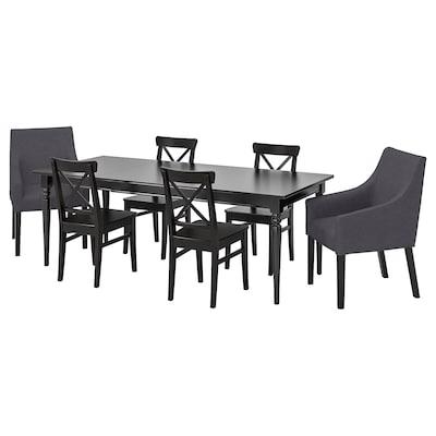 INGATORP / INGOLF طاولة و 6 كراسي, أسود/Sporda رمادي غامق, 155/215x87 سم