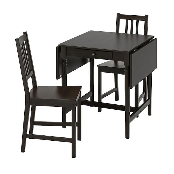 INGATORP / STEFAN طاولة وكرسيان, أسود-بني/بني-أسود, 65/123x78 سم