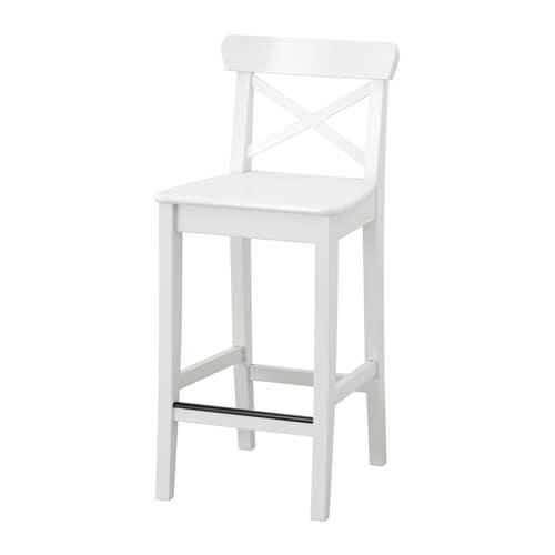 INGOLF Bar stool with backrest, white