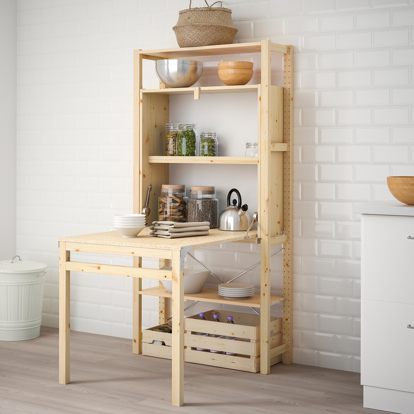 IVAR 5 sec/storage unit w foldable table 5x5-504x579 cm