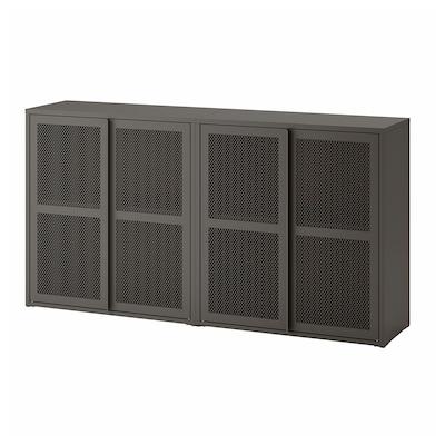IVAR خزانة مع أبواب, رمادي فتحة شبكة, 160x30x83 سم