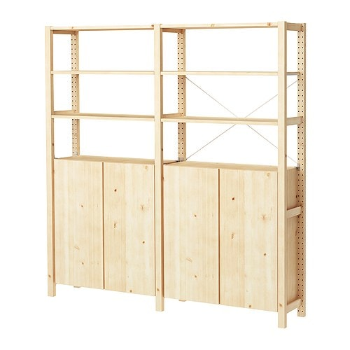 IVAR 2 sections/shelves/cabinet IKEA Untreated solid pine is a durable natural material that can be painted, oiled or stained according to preference.