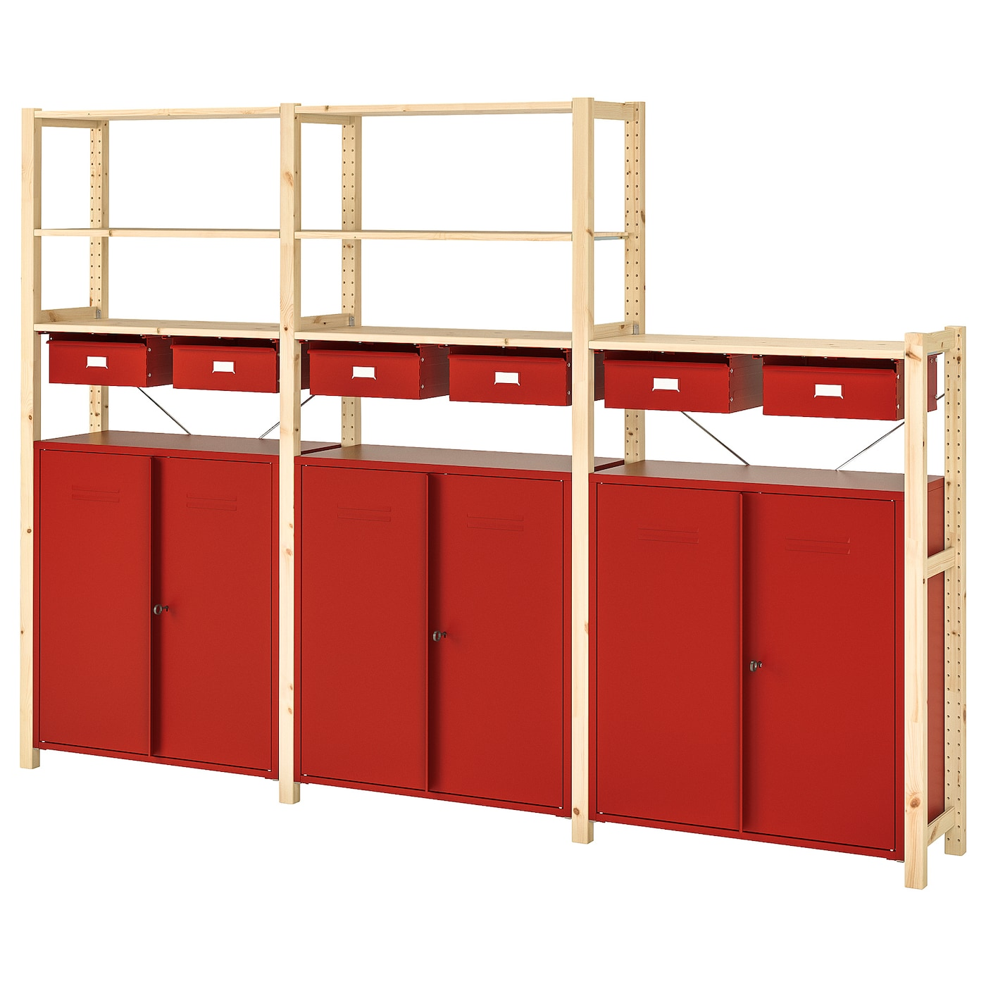 Shelving Unit W Cabinets Drawers Ivar Pine Red