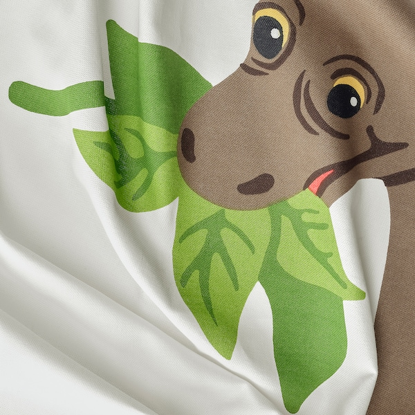 JÄTTELIK Curtains with tie-backs, 1 pair, dinosaur/brontosaurus, 120x300 cm