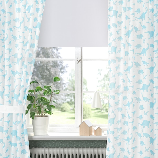 JÄTTELIK Curtains with tie-backs, 1 pair, dinosaur white/blue, 120x300 cm