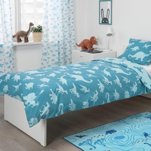 JÄTTELIK غطاء لحاف و غطاء مخدة, ديناصور/أزرق, 150x200/50x80 سم