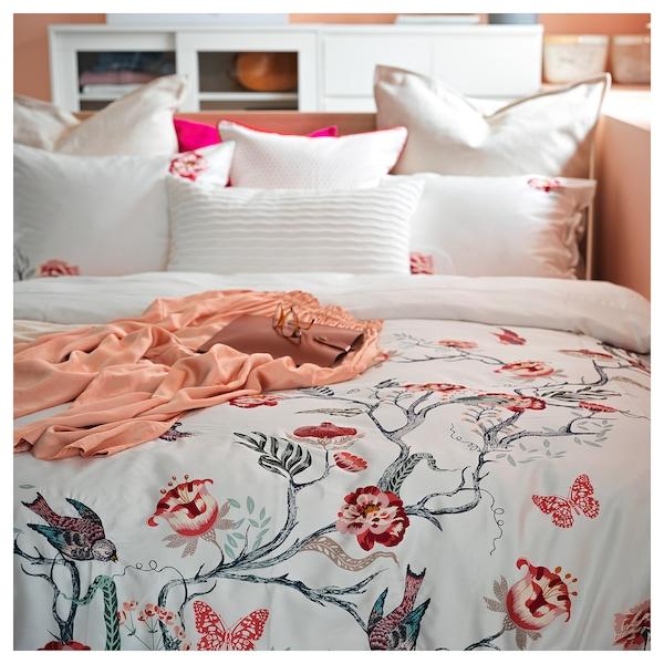 JÄTTELILJA غطاء لحاف و غطاء مخدة, أبيض/نقوش نباتية, 150x200/50x80 سم