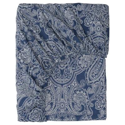 JÄTTEVALLMO Fitted sheet, dark blue/white, 160x200 cm