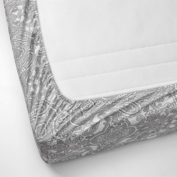 JÄTTEVALLMO شرشف بمطاط, أبيض/رمادي, 180x200 سم