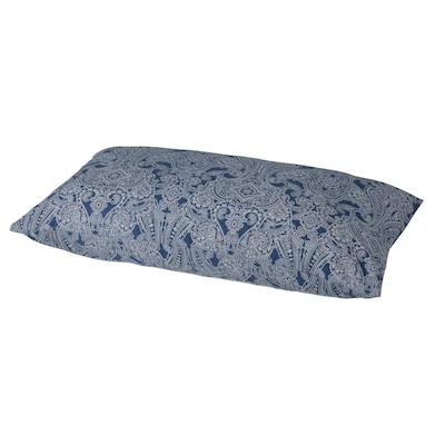 JÄTTEVALLMO كيس مخدة, أزرق غامق/أبيض, 50x80 سم