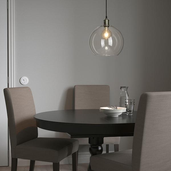 JAKOBSBYN / JÄLLBY Pendant lamp, clear glass/nickel-plated