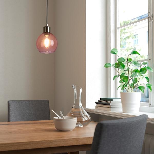 JAKOBSBYN / SKAFTET Pendant lamp, pink/nickel-plated