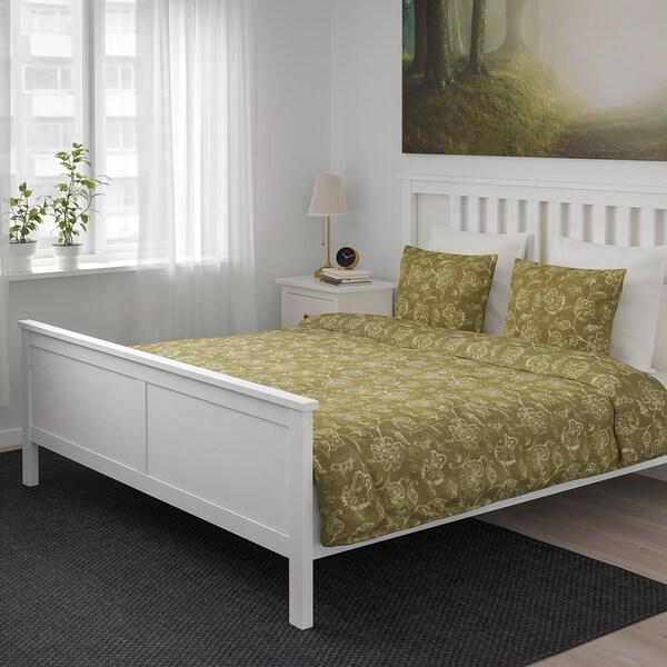 JUNIMAGNOLIA غطاء لحاف/2كيس مخدة, أخضر/أبيض, 240x220/50x80 سم