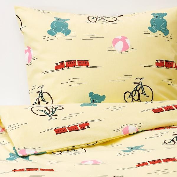 KÄPPHÄST غطاء لحاف و غطاء مخدة, دمى أصفر, 150x200/50x80 سم
