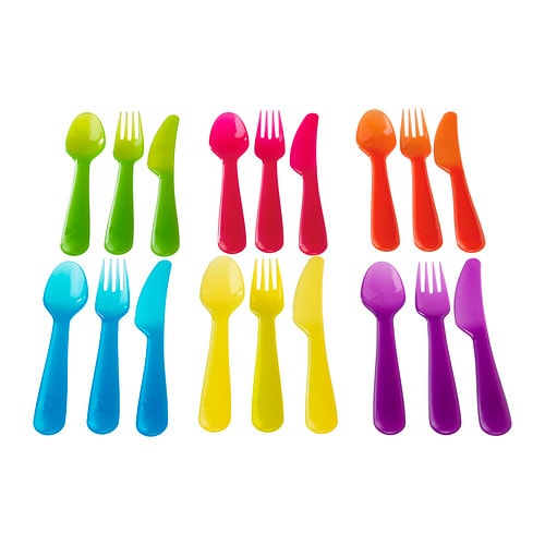 KALAS 18-piece cutlery set IKEA Great for parties and everyday meals.   Made of durable plastic and safe to use in the dishwasher and microwave.