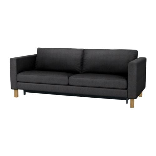 KARLSTAD Three-seat sofa-bed w storage IKEA Storage space under the seat for pillows and quilts for two.