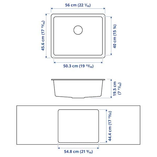 KILSVIKEN حوض واحد مدمج, أسود مزيج كوارتز, 56x46 سم
