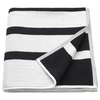 KINNEN منشفة حمّام, أبيض/أسود, 70x140 سم