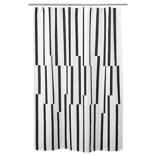 KINNEN shower curtain white/black 200 cm 180 cm 3.60 m² 116 g/m²