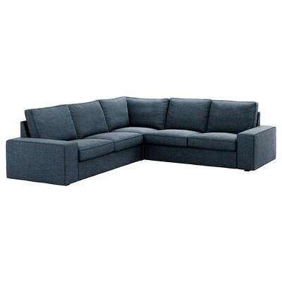 KIVIK Corner sofa, 4-seat, Hillared dark blue