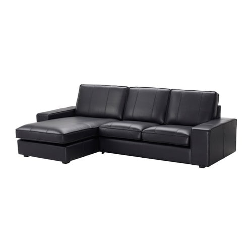 Kivik Two Seat Sofa And Chaise Longue Grann Bomstad Black Ikea