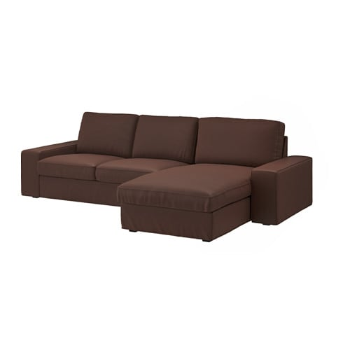 Kivik two seat sofa and chaise longue borred dark brown ikea - Chaise pliantes ikea ...