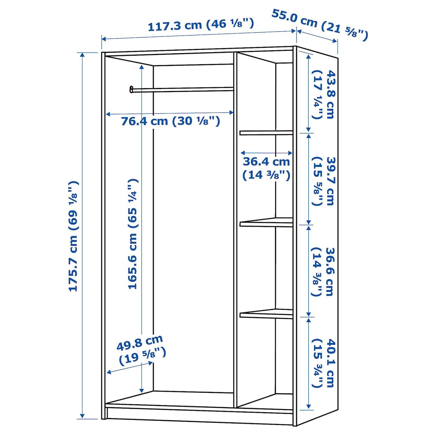 KLEPPSTAD Wardrobe with 3 doors - white 117x176 cm