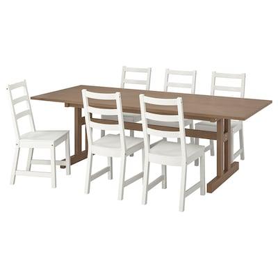 KLIMPFJÄLL / NORDVIKEN طاولة و 6 كراسي, رمادي-بني/أبيض, 240x95 سم