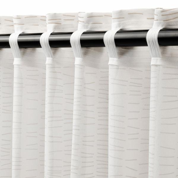 KLÖVERALM ستائر، 1 زوج, أبيض/بيج, 145x300 سم
