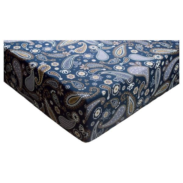 KNÖLSYSKA Fitted sheet, blue, 180x200 cm