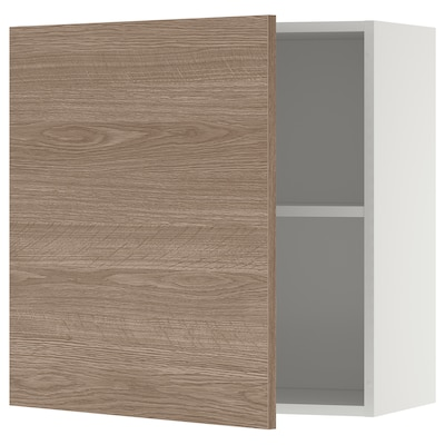 KNOXHULT Wall cabinet with door, wood effect/grey, 60x60 cm