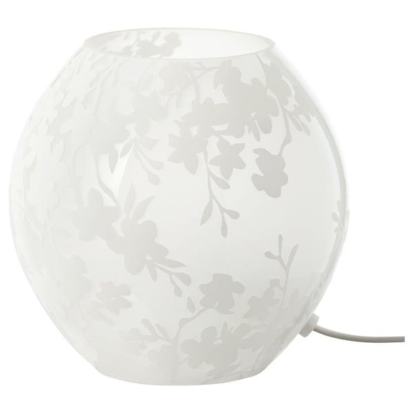 KNUBBIG مصباح طاولة, أزهار الكرز. أبيض, 18 سم