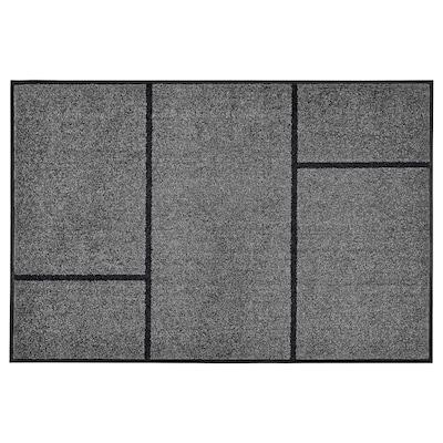 KÖGE Door mat, grey/black, 102x152 cm