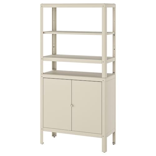 KOLBJÖRN shelving unit with cabinet beige 80 cm 37 cm 161 cm