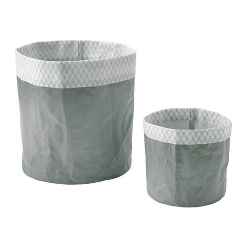 KOLOKVINT Plant pot, set of 2, grey