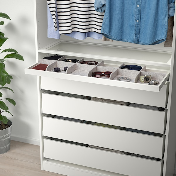 KOMPLEMENT Divider for pull-out tray, light grey, 100x35 cm