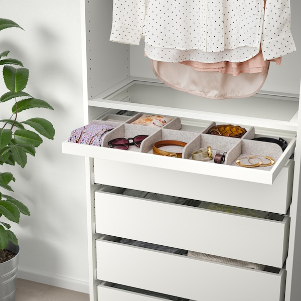 KOMPLEMENT Divider for pull-out tray, light grey, 75x35 cm