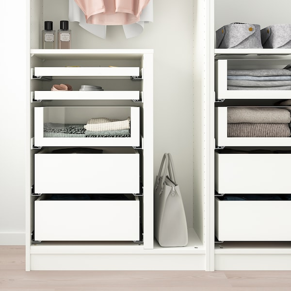 KOMPLEMENT Drawer with glass front, white, 75x58 cm
