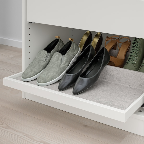 KOMPLEMENT صينية سحب مع رف أحذية, أبيض/رمادي فاتح, 75x58 سم