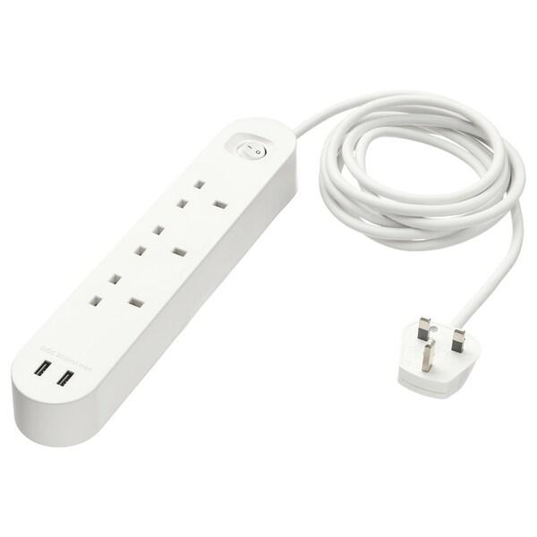 KOPPLA توصيلة بثلاث مقابس مع مدخلين USB, أبيض, 3.0 م