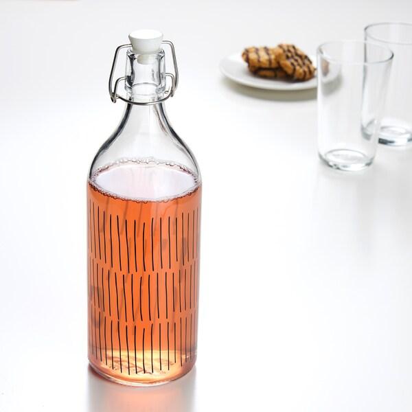 KORKEN قنينة مع سدادة, زجاج شفاف/منقوش أسود, 1 ل