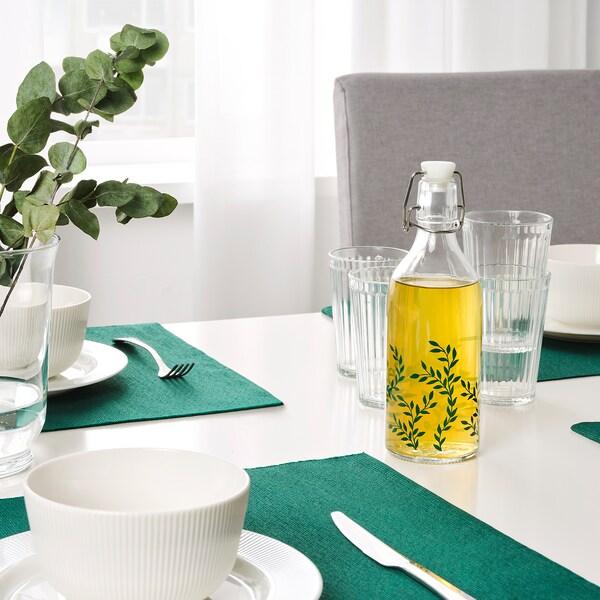 KORKEN قنينة مع سدادة, زجاج شفاف/منقوش أخضر, 0.5 ل