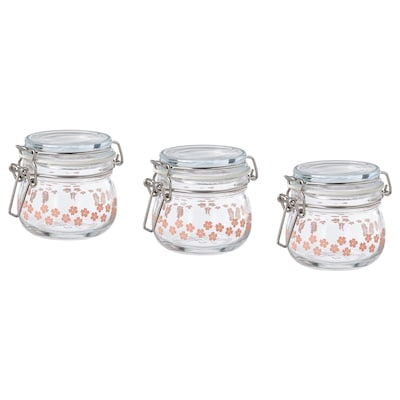 KORKEN Jar with lid, glass printed, 13 cl