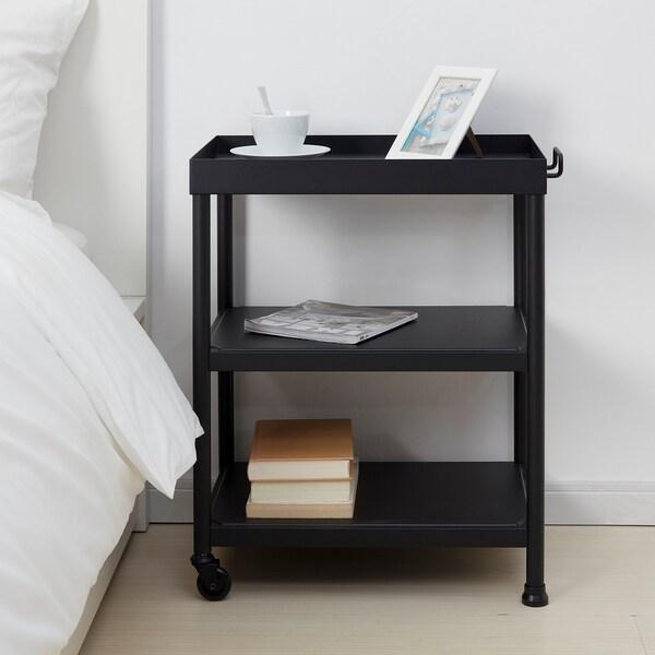 KORNSJÖ طاولة جانبية, أسود, 50x35 سم