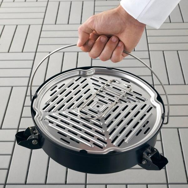 KORPÖN Portable charcoal barbecue, black