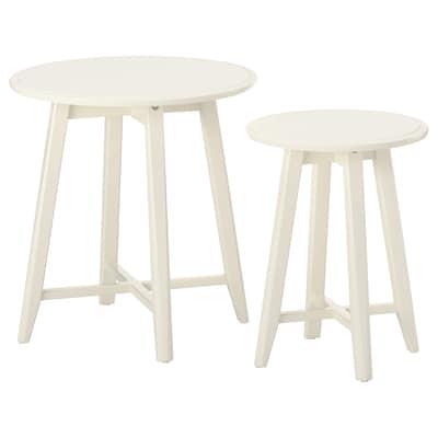 KRAGSTA طاولات متداخلة، طقم من 2., أبيض