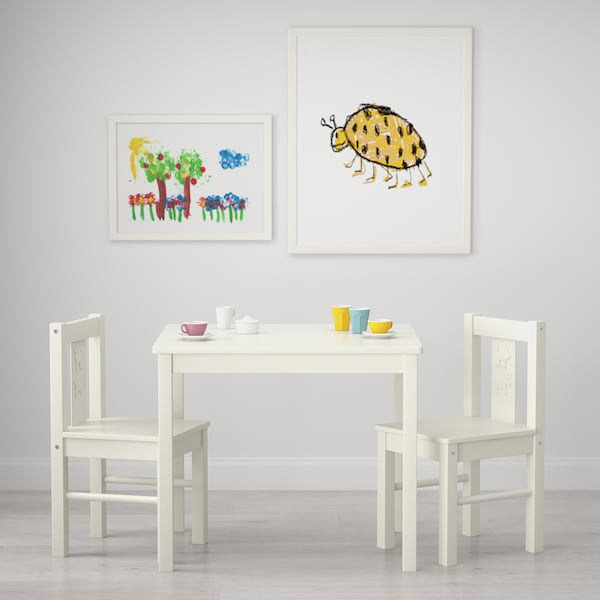 KRITTER طاولة أطفال, أبيض, 59x50 سم