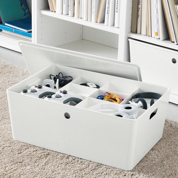 KUGGIS صندوق بغطاء, أبيض, 37x54x21 سم