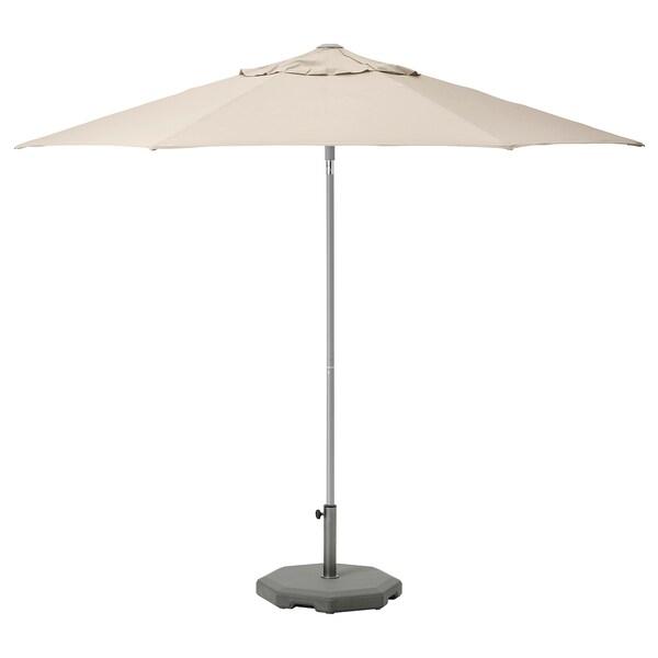 KUGGÖ / LINDÖJA مظلة نزهة مع قاعدة, بيج/Huvön رمادي غامق, 300 سم