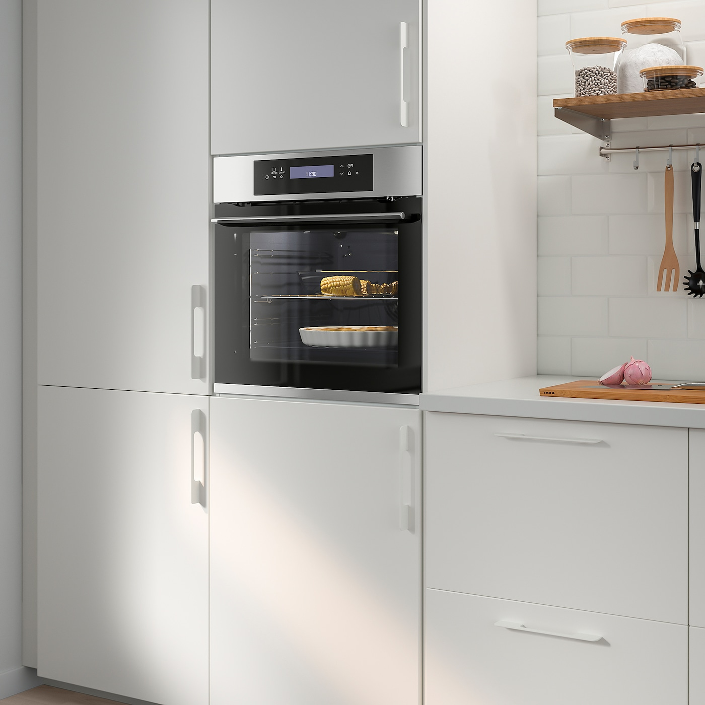 KULINARISK Forced air oven w pyrolytic funct, stainless steel